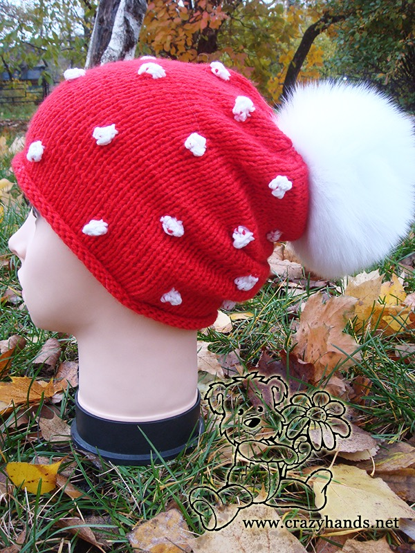Santa Knit Hat with Pom Pom on Mannequin - side view