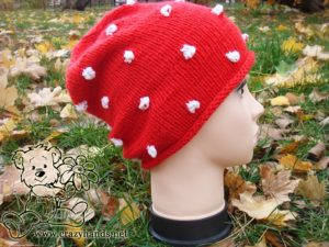 Santa Knit Hat on Mannequin - side view