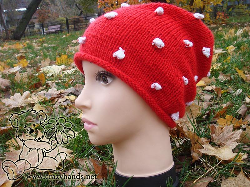 Santa Knit Hat on Mannequin - side view