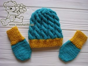 Blue Primrose Knit Set for a Newborn Baby - Hat & Mittens