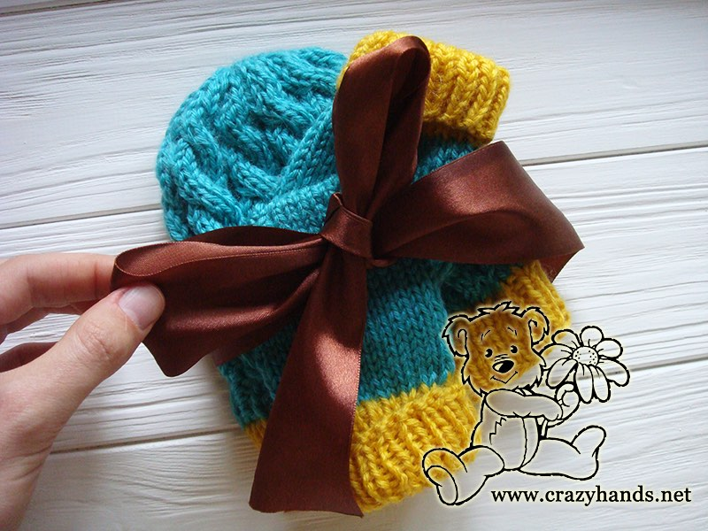 Christmas Gift for a Newborn Baby - Knit Hat and Knit Mittens