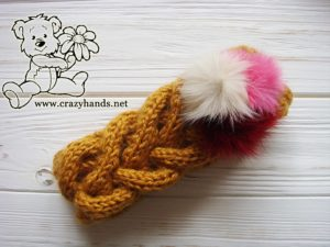 Honey-Butterscotch Ear Warmers with Fur Poms