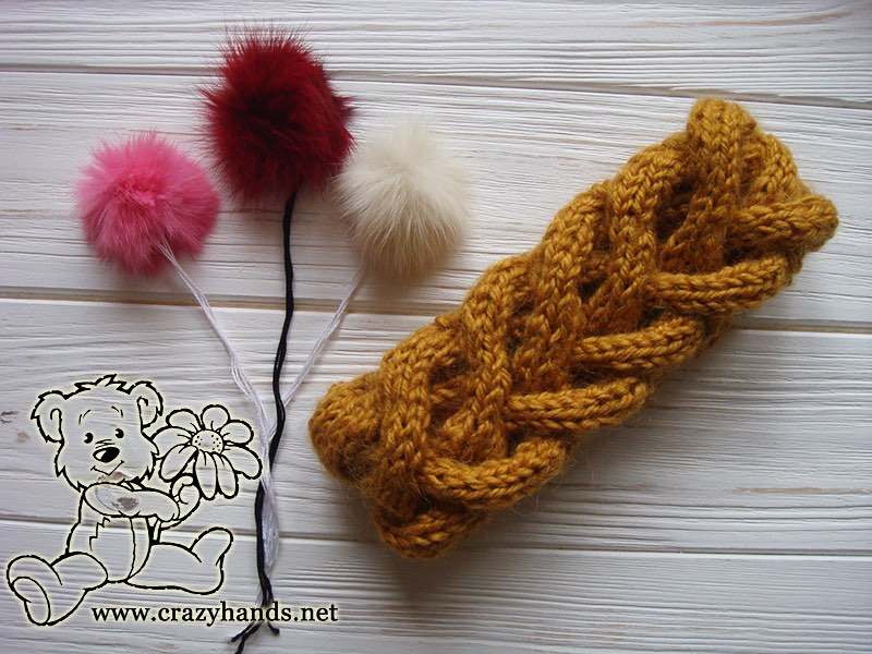 Honey-Butterscotch Ear Warmers with 3 Fur Pom Poms