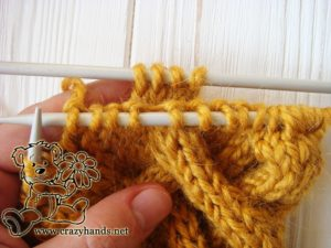 Step 2 - Cable 4 Back Stitch Honey-Butterscotch Ear Warmers