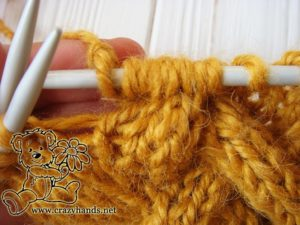 Step 3 - Cable 4 Back Stitch Honey-Butterscotch Ear Warmers