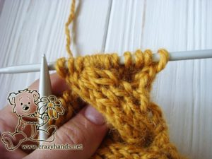 Step 3 - Cable 4 Front Stitch Honey-Butterscotch Ear Warmers