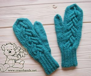 teal ocean knit mittens - face side