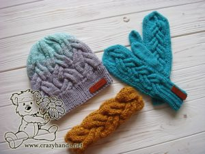 teal ocean knit mittens, gradient color knit hat and bulky braided headband