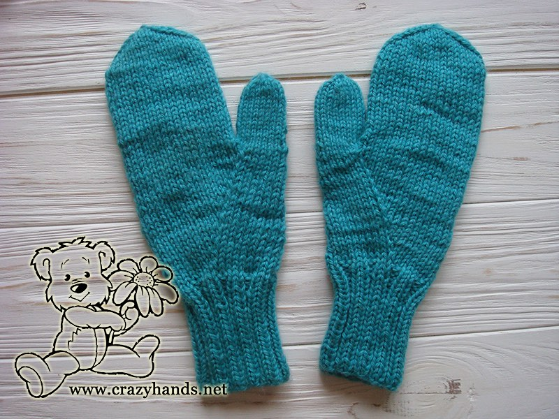 teal ocean knit mittens - back side - photo 1