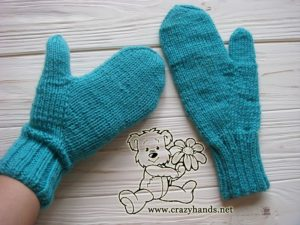 teal ocean knit mittens - back side - photo 2