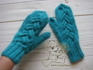 teal ocean knit mittens - face side - photo 2