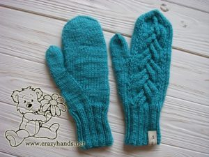 teal ocean knit mittens - photo 2
