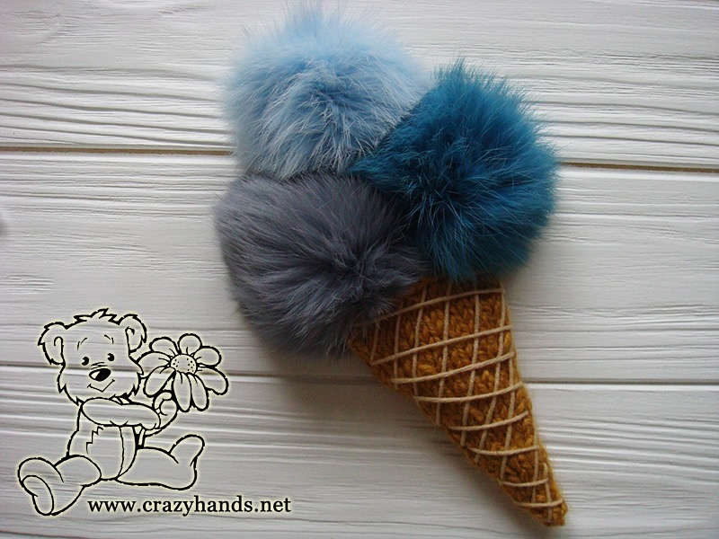 knit ice cream with fur pom poms