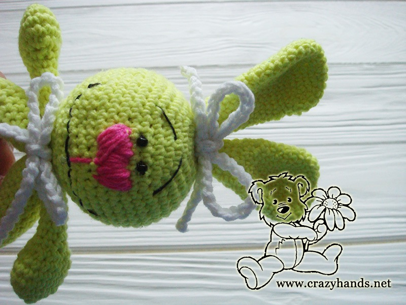 Light Lime Crocheted Bunny Ring Rattle
