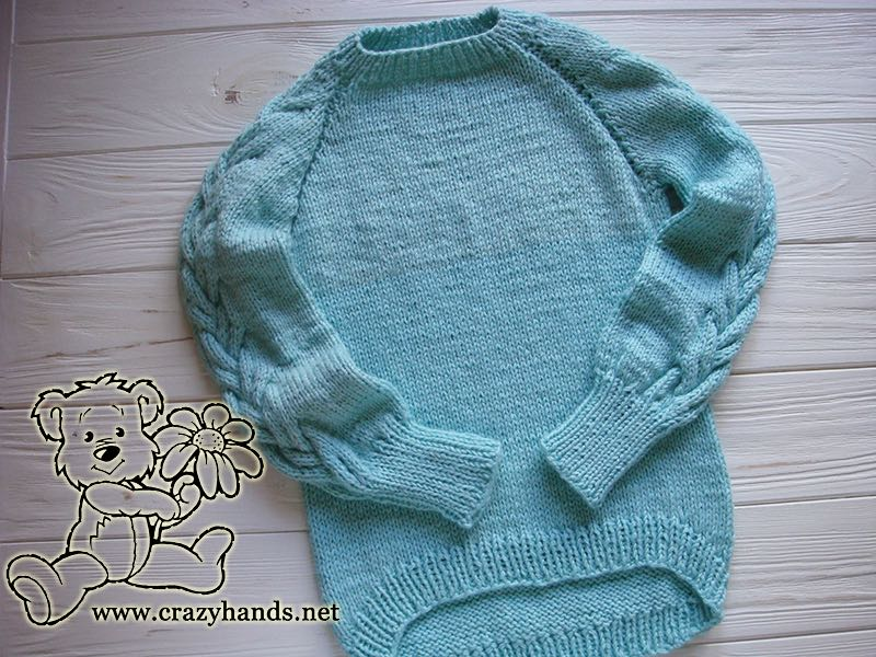 Top Down Raglan Sweater Pattern with Cables (Kid's Knits