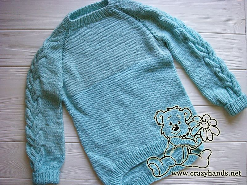 Top Down Raglan Sweater Pattern With Cables Kids Knits Crazy