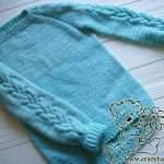 Sky Blue Top Down Raglan Sweater Pattern with Cables (Kid's Knits)