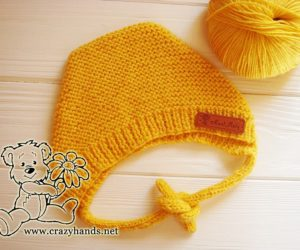 Baby Bear Knit Bonnet Pattern (Garter Stitch)