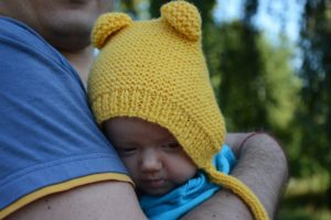 three-months-old-baby-in-knit-bonnet-photo-2