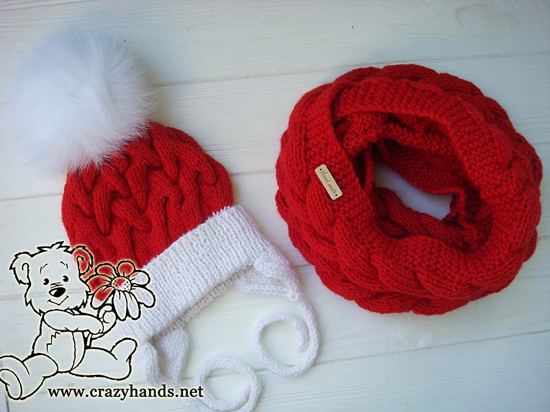 Santa set - knit cable hat and scarf - photo 1
