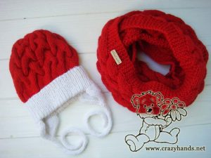 Santa set - knit cable hat and scarf - photo 2