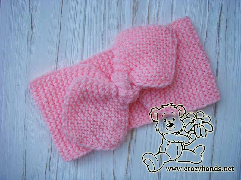 Pink Rose Bow Knit Headband (Garter Stitch)