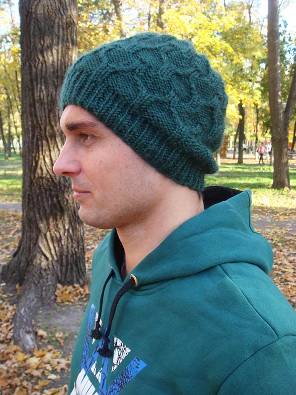 boy in knit cable hat