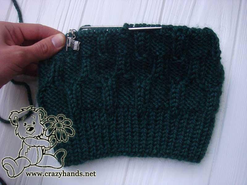 men's knit hat in process