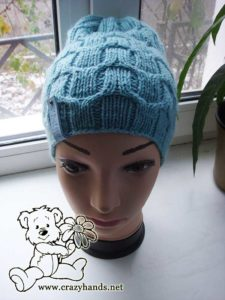 Front look of the mint knit hat