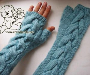 Mint Knit fingerless gloves