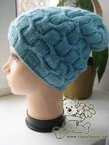Slouchy cable winter hat