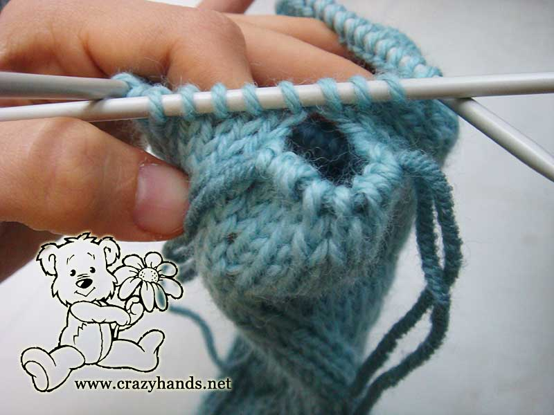 gusset section of the fingerless glove