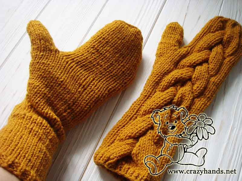 Finished Long Mustard knit cable mittens