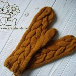 Long Mustard knit cable mittens