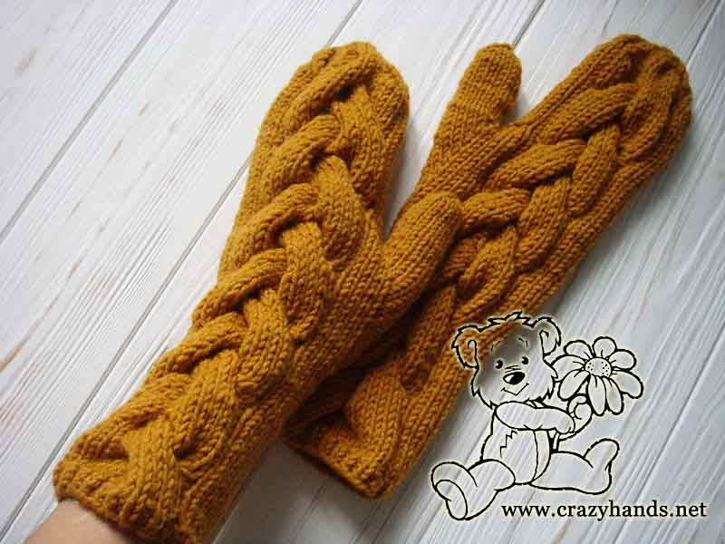 Long knit cable mittens