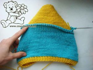 inner layer of the knit pixie baby hat