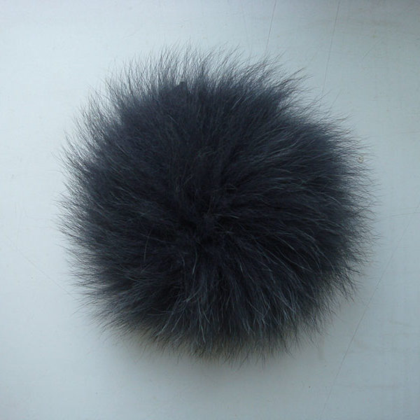Dark Gray arctic fox fur pom pom