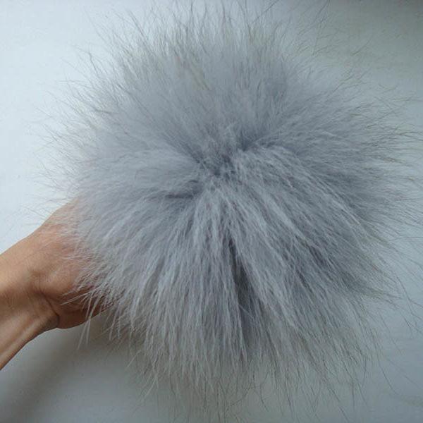 Light Gray arctic fox fur pom pom