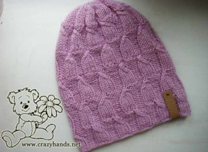knit magnolia pink hat for begginers