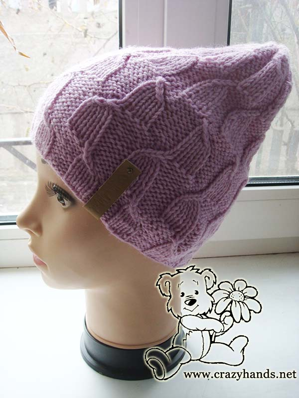 knit magnolia pink hat on the mannequin picture 2