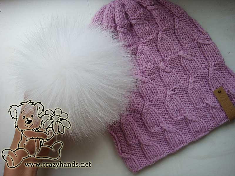 knit magnolia pink hat with pom pom