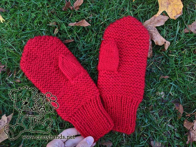 Garter Stitch Christmas Mittens
